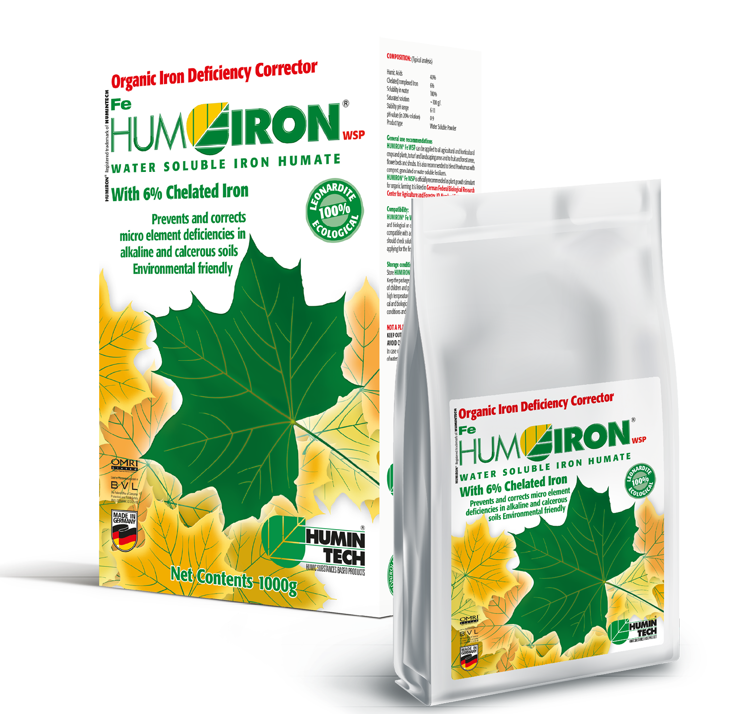HUMIRON Fe WSP Organic Iron Deficiency Corrector Iron Humate with 6% Chelated and Complexed Iron