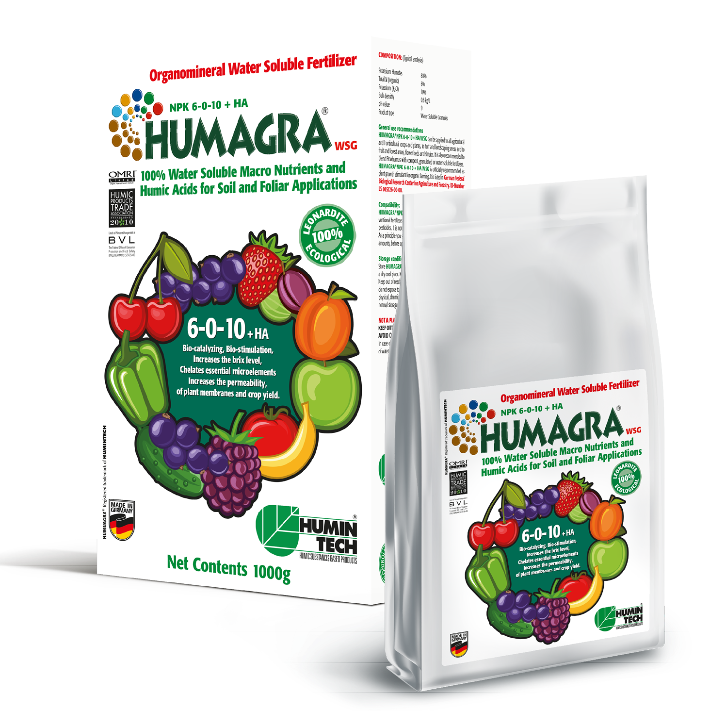 HUMAGRA NPK 6-0-10 + HA WSG Organomineral Water Soluble Fertilizer
