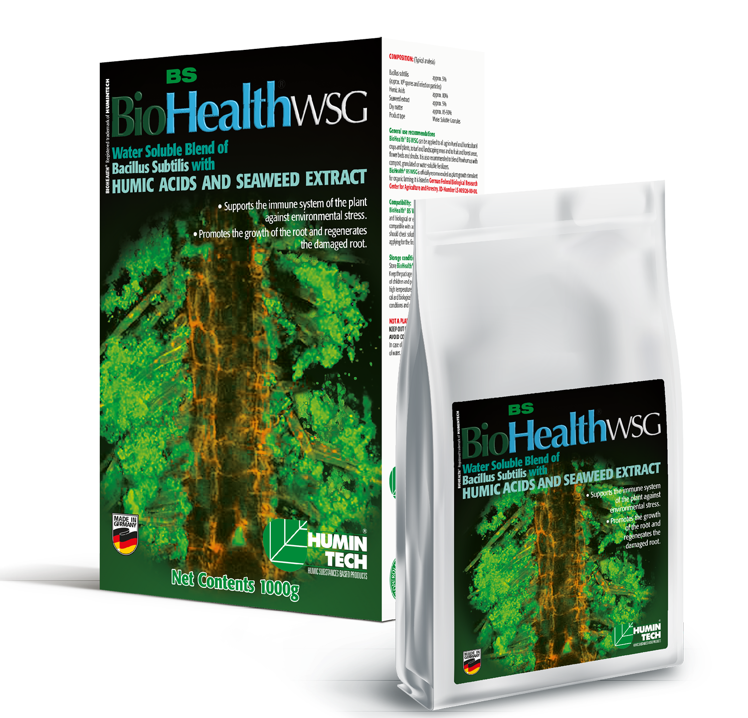 BioHealth BS WSG Water Soluble Blend of Bacillus Subtilis Seaweed Extract and Humic Acids