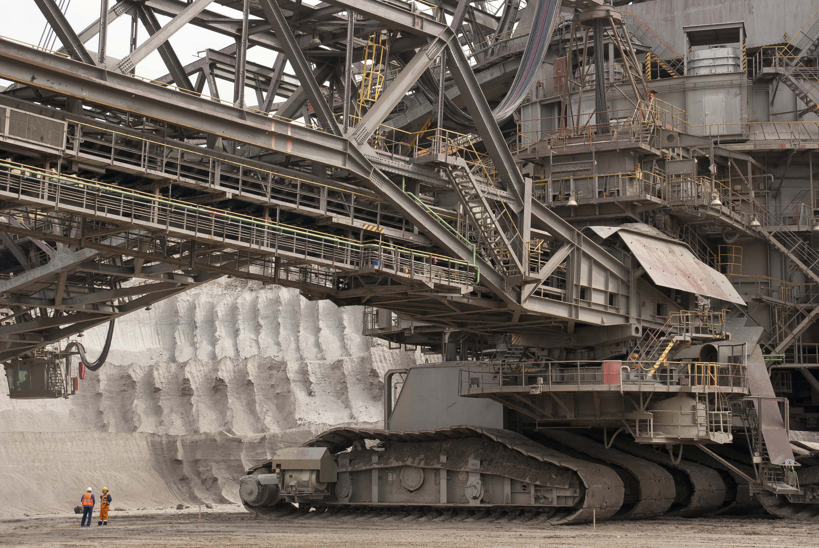 open pit mining with bucket wheel excavator in the lower rhine brown coal area near grevenbroich