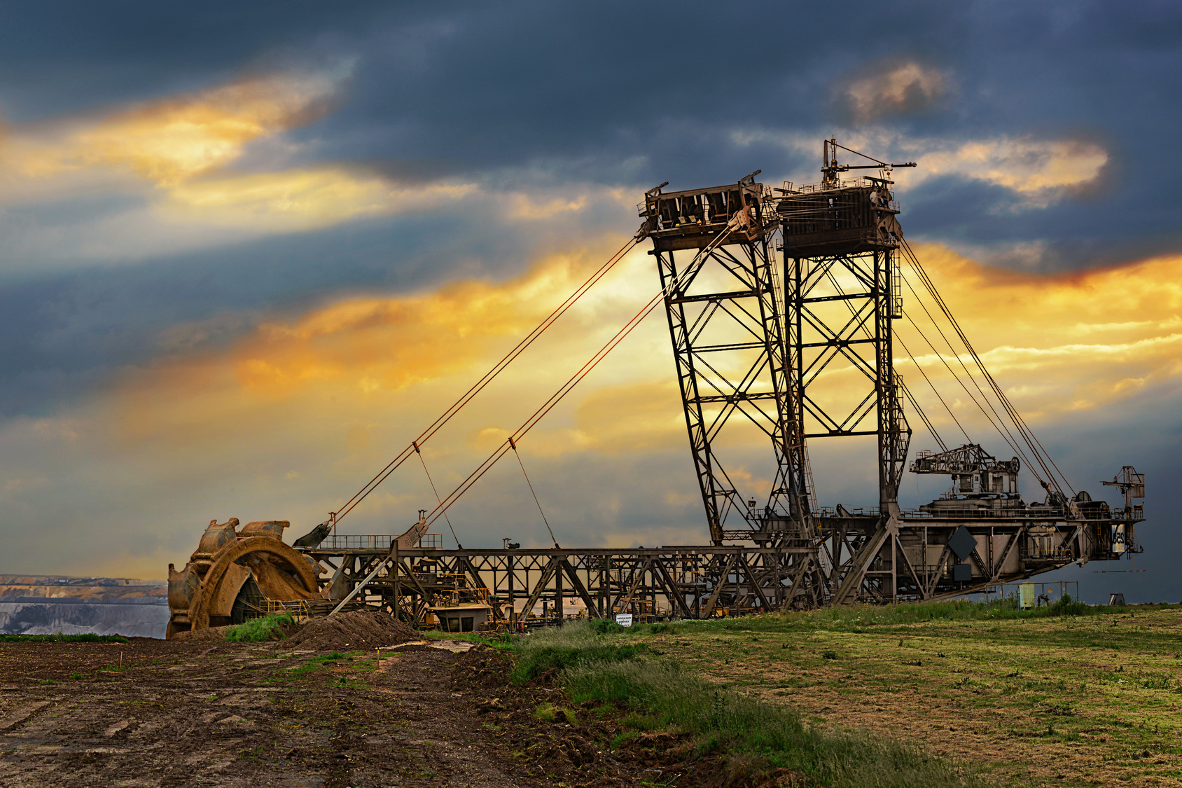 huge bucket wheel excavator in the brown coal mining area of the lower rhine