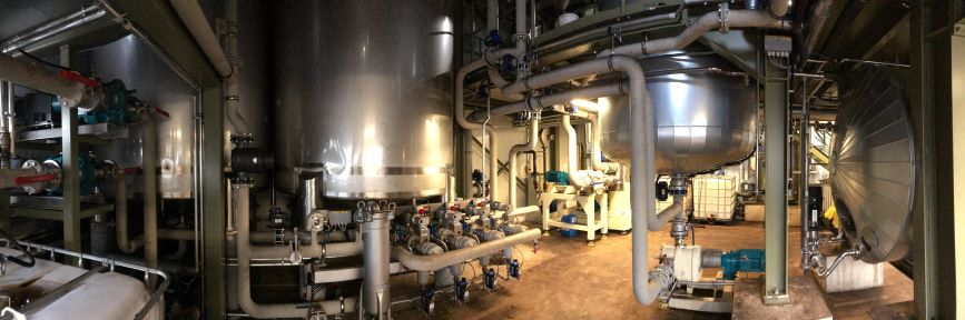 partial view of production plants in the production hall of the humintech company