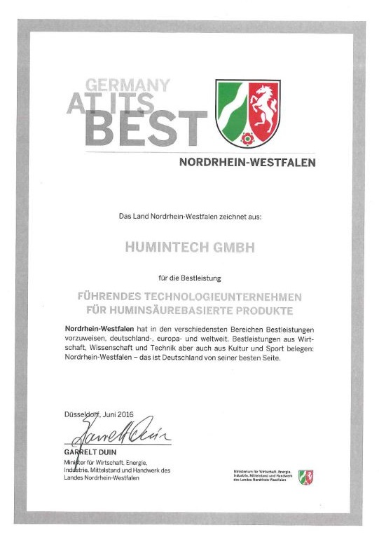 certificate of the germany at it's best award 2016 for humintech company
