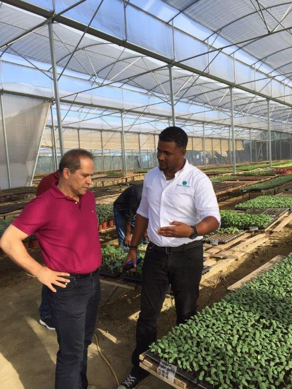 Dr. Yasser Dergham with a farmer in a greenhouse