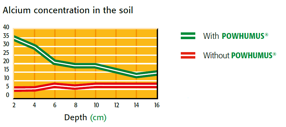 calcium concentration in the soil with and without powhumus
