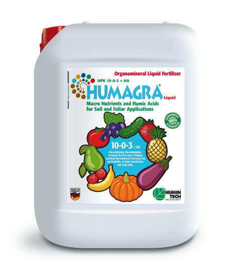 HUMAGRA NPK 10-0-3 + HA Liquid Organomineral Liquid Fertilizer NPK Macronutrients and Humic Acids canister