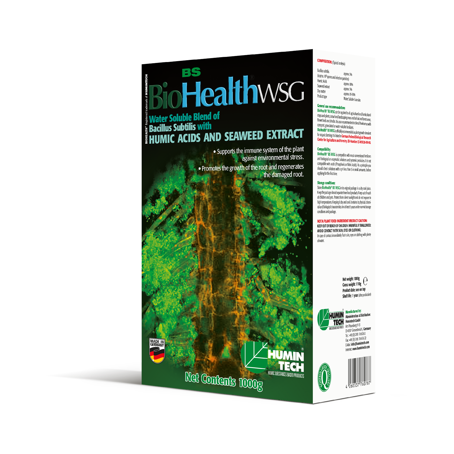 BioHealth BS WSG Water Soluble Blend of Bacillus Subtilis Seaweed Extract and Humic Acids box