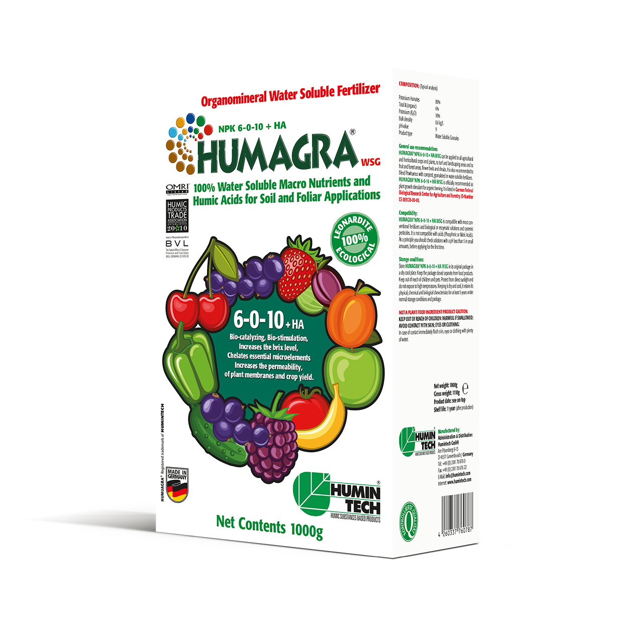HUMAGRA NPK 6-0-10 + HA WSG Organomineral Water Soluble Fertilizer box