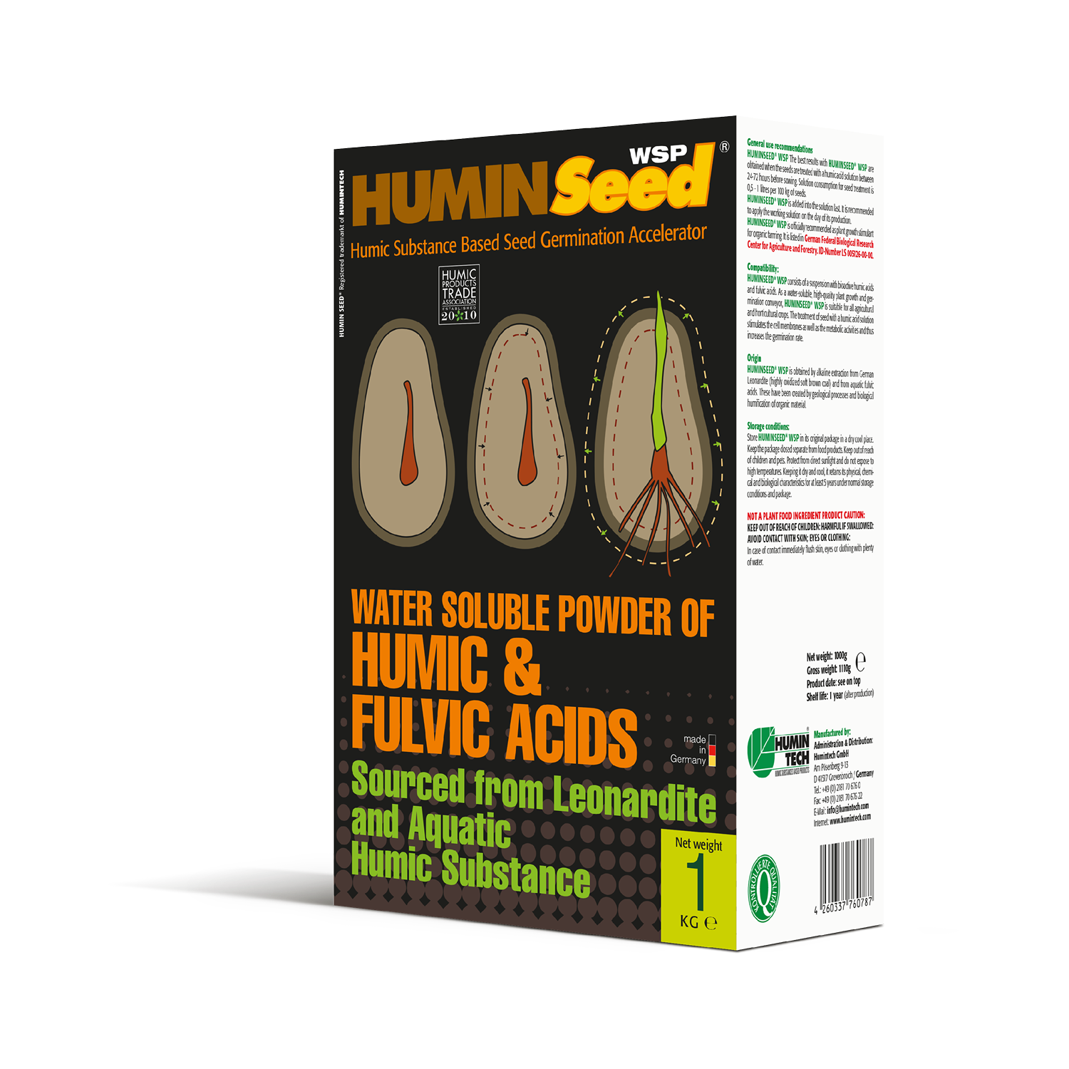 HUMINTECH HUMINSEED WSP is a Humic Based Seed Germination Accelerator box