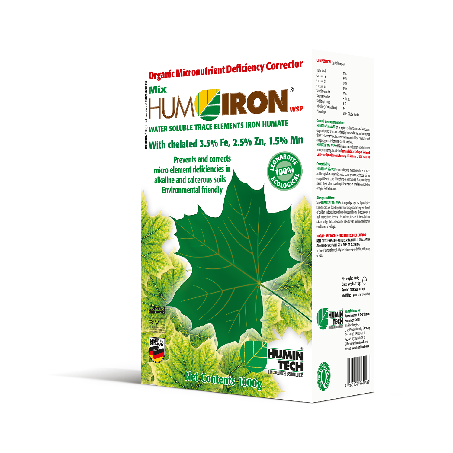 HUMIRON Mix WSP Organic Micronutrient Deficiency Corrector Water Soluble Trace Elements Humate box
