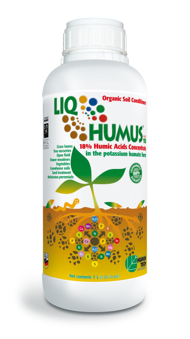 LIQHUMUS Liquid 18 Potassium Humate Liquid 18% Organic Soil Conditioner bottle