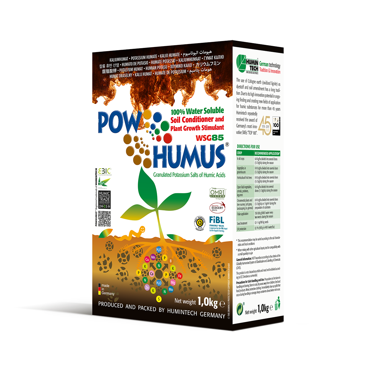 POWHUMUS WSG 85 100% water soluble Organic Soil Conditioner box