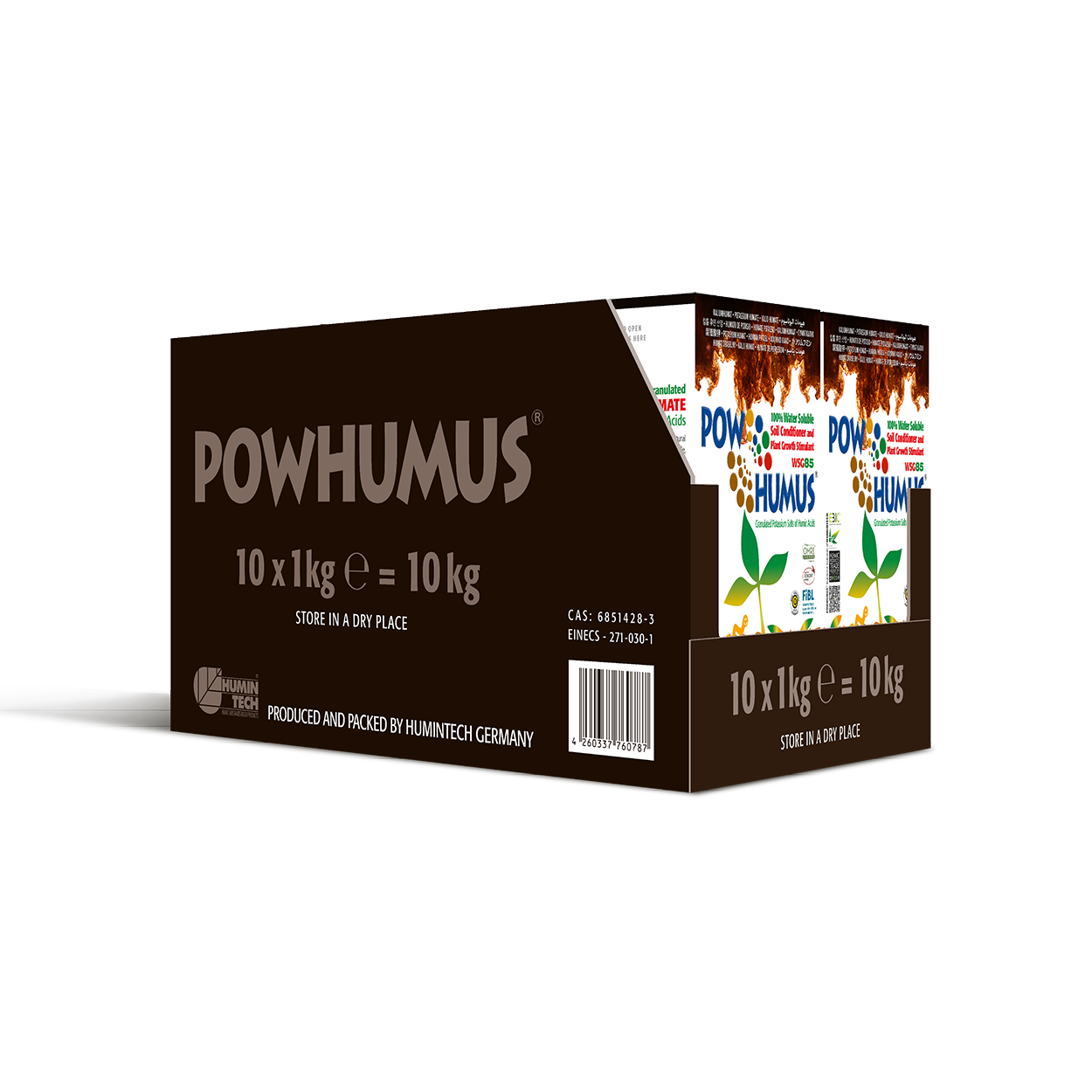 POWHUMUS WSG 85 100% water soluble Organic Soil Conditioner box 10x